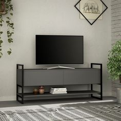 Kimbrel TV Stand for TVs up to Wrought Studio Colour: Anthracite Tvs, Tv Stand Lights, Tv Shelf, Coffee Table With Storage, Tv Cabinets, Tv Unit, Wood And Metal, Metal Bar, Metal Tv Stand