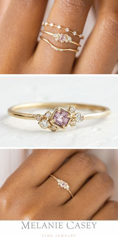 Sapphire Posy Ring - A delicate 14 carat yellow gold sapphire ring with a . - Sapphire Posy Ring – A dainty sapphire ring made of 14 carat yellow gold with a light pink sapphi - Rose Gold Engagement Ring, Diamond Wedding Rings, Unique Rings, Beautiful Rings, Delicate Rings, Gorgeous Gorgeous, Unique Diamond Rings, Gold Sapphire Ring, Sapphire Wedding
