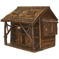Early 20th c. American Rustic Miniature Log Cabin | From a unique collection of antique and modern sculptures and carvings at https://www.1stdibs.com/furniture/folk-art/sculptures-carvings/