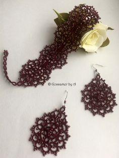 Tatting lace set bracelet and earringsweaving by GossamerbyA