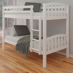 Regardless of bedroom design, this clean white modern bunk bed is sure to brighten up your home with its simple style. Crafted from durable materials and contemporary in design, the American White Finish Solid Pine Wooden Bunk Bed is the perfect soluti Bunk Beds For Boys Room, Adult Bunk Beds, Kid Beds, Kids Bedroom, Bedroom Ideas, Beds Uk, Master Bedroom, Bedroom Decor, White Kids Furniture