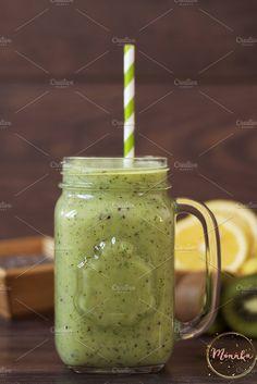 Kiwi healthy smoothie by MONNKA on @creativemarket