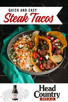 Need a quick and easy weeknight dinner? These steak tacos are the perfect quick and easy meal you are looking for. Try these out the next time you need a fast weeknight dinner. Healthy Grilling Recipes, Grilled Steak Recipes, Healthy Tacos, Easy Weeknight Dinners, Quick Meals, Fresh Tortillas, Steak Tacos, Cooking Instructions, Stuffed Sweet Peppers