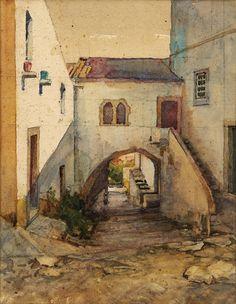 João Alves de Sá (1878-1972) - Casa do Arco - Óbidos - Aguarela