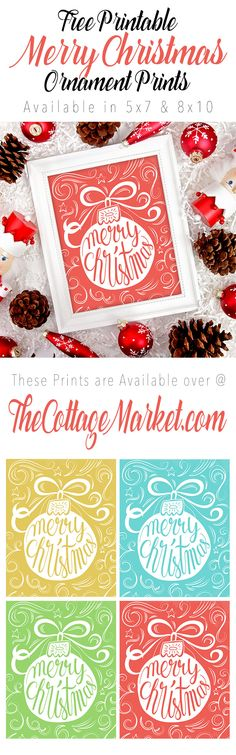 FREE PRINTABLE Merry Christmas Ornament Prints in 4 different Colors!  FREE in 8X10 and 5X7!
