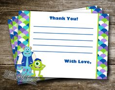 Monsters Inc University inspired Thank You Card Note Invitation Birthday Party Mike Wazowski Sully digital printable diy by 2SweetTeas on Etsy https://www.etsy.com/listing/153333554/monsters-inc-university-inspired-thank