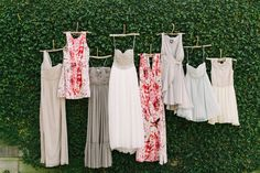 Major love for the maids' mismatched frocks (from BHLDN, Alice & Olivia, and Parker) + Maya's Seychelles booties + beaded gown!