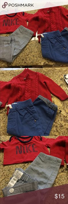 Baby's outfit Baby's outfit: Cherokee sweater & pants; Nike onesie & Carters pants. Cherokee Shirts & Tops Sweaters
