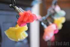 Spring crafts - Tissue Paper Flower Fairy Lights: