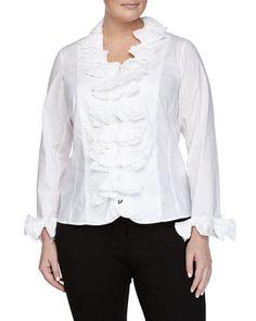 Bow-Trim+Poplin+Shirt,+White,+Women\'s+by+Go+Silk+Plus+at+Neiman+Marcus+Last+Call.