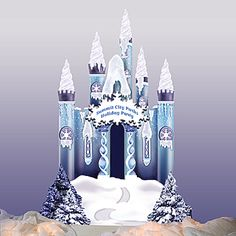 Create the perfect winter wonderland with this 10 ft 8 in high x 7 ft 8 in wide Ice Castle. Cardboard Ice Castle is accented with iridescent snow. Personalize the castle sign with your own special message!