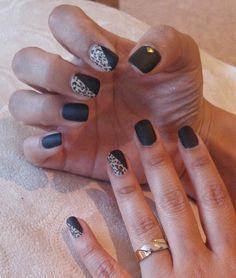 #Matte #black #lepard #nail