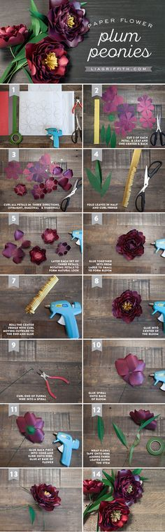Make your own paper flowers with this stunning pattern and tutorial for paper peonies by handcrafted lifestyle expert Lia Griffith.