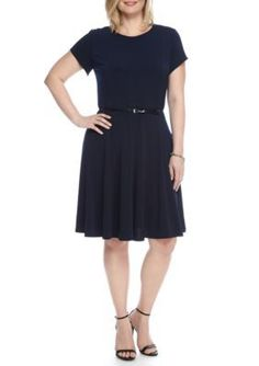 Laura Jeffries  Plus Size Solid Belted Fit and Flare Dress