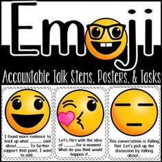 Have fun with Socratic seminars and discussions with these accountable talk stems, posters, and task cards! You can use them to keep track of who has added to the conversation by having students hold up the emoji stem until they work in their stem (front and back printing option with single emoji on the front and words on the back).
