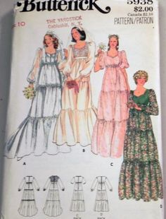Butterick 5938 Tiered Wedding Dress Pattern. by retroactivefuture, $8.00