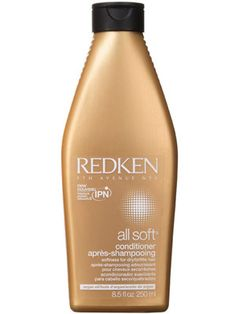Redken All Soft Conditioner. WHAT IT IS: A conditioner for dry, overprocessed hair  WHAT IT DOES: Softens parched hair while hydrating and detangling  KEY INGREDIENTS: Stearamidopropyl dimethylamine (conditions); sodium PCA, argan oil, and arginine (moisturize)  HOW IT FEELS/SMELLS/LOOKS: The creamy white formula has the comforting smell of honey and almonds.  WHY WE LIKE IT: Even when it's still wet, our hair feels softer after rinsing with this in the shower. Once dry, it's sleeker, shinier, and thanks to smoothing Argan oil, has less frizz.