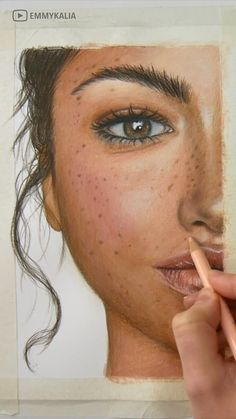 Painting/Coloring a face with watercolors and colored pencils by Emmy Kalia Pencil Art Drawings, Cool Art Drawings, Realistic Drawings, Art Drawings Sketches, Colored Pencil Portrait, Color Pencil Art, Watercolor Art Face, Watercolor Portrait Painting, Dibujos Zentangle Art