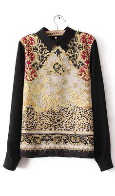 Long sleeve printing Totem primer blouse,lovely
