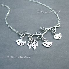 Family+Bird+Necklace+Sterling+Silver+Chain+by+SweetBlueBirdJewelry,+$36.50