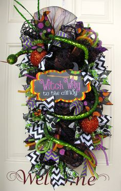 Halloween Black, Green, Orange and Purple with Glitter Snake Which Way to the Candy Wall or Door Indoor Outdoor Wreath!