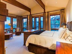 Master bedroom situated to take in the views from Deer Crest over the lake.