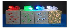 Free printable to create you own light up paper MInecraft blocks in Emerald, Redstone, Glowstone and Diamond ores! Minecraft Light, Minecraft Sword, Minecraft Blocks, Minecraft Room, Hama Beads Minecraft, Minecraft Crafts, Minecraft Stuff, Minecraft Furniture, Minecraft Skins