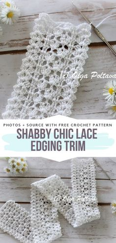 Shabby Chic Lace Edging Trim Free Crochet PatternYou can find Crochet lace and more on our website. Crochet Lace Scarf, Crochet Lace Edging, Crochet Trim, Lace Knitting, Crochet Flowers, Free Crochet, Easy Crochet, Crochet Edgings, Crocheted Lace