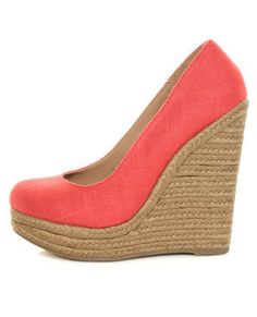 Coral Linen Espadrille Wedges So cute except mine are in the tan color!