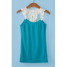 Trendy Style Straps Lace Splicing Hollow Out Women's Tank Top, SAPPHIRE BLUE, ONE SIZE in Tank Top   DressLily.com