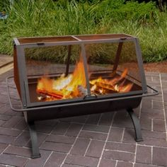 """Landmann - Northwoods 36"""" Steel Fire Pit - Black Fire Pit Cooking, Fire Pit Grill, Fire Pit Patio, Cooking On The Grill, Fire Pits, Outdoor Wood Burning Fireplace, Backyard Fireplace, Wood Burning Fire Pit, Outdoor Fireplaces"""