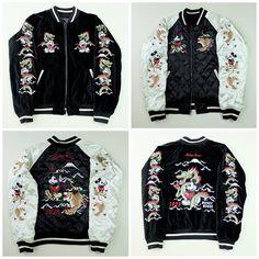 Vintage Japanese Disney Mickey Mouse Dragon Ryu Roaring Tiger Fujisan Mt. Fuji 1928 Embroidered Sukajan Souvenir Jacket - Japan Lover Me Store