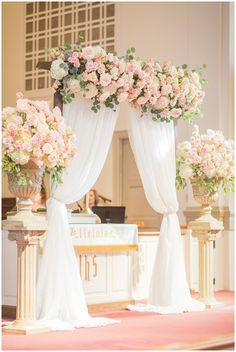 Follow us @SIGNATUREBRIDE on Twitter and on FACEBOOK @ SIGNATURE BRIDE MAGAZINE Wedding Ceremony Arch, Wedding Altars, Indoor Wedding Ceremonies, Chapel Wedding, Wedding Ceremony Decorations, Topiary Wedding, Indoor Ceremony, Ceremony Backdrop, Country Wedding Decorations