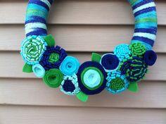 Spring Wreath - Multi-color Spring Yarn Wreath w/ Felt Flowers. Yarn Wreath - Easter Wreath - Spring Decoration