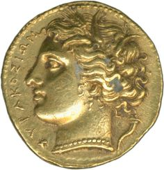 Greece / Siracusa: Hikelas 288 / 279 BC, drachm gold 4.2 g, Persephonen head in the garland of corn, at back. Nike in Biga, very rare, extremly fine    Dealer  Schwanke GmbH    Auction  Minimum Bid:  800.00 EUR