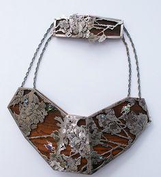 Necklace | Anne Leger.  'Plastron' 2011.  Wood, silver, gold, amethyst, peridot, blue diamond.