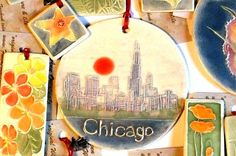 CHICAGO ILLINOIS urban chic metro city scape by FaithAnnOriginals, $24.00