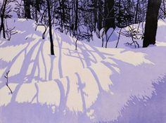Blue Dusk, linocut print by William Hays