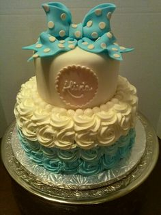 Teal ombre baby shower cake