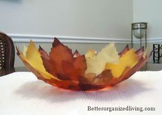 How to make a bowl out of the beautiful autumn leaves.