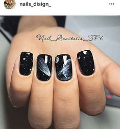 beautiful acrylic short square nails design for french manicure nails 9 ~ Modern House Design French Nails, French Manicure Nails, Diy Nails, Square Nail Designs, New Nail Designs, Black Nail Designs, Black Nails With Glitter, Glitter Nails, Galaxy Nail Art