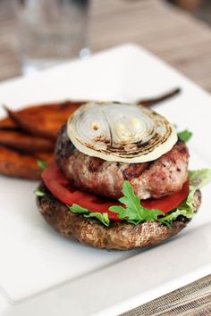 Turkey burgers with portobello mushroom 'buns' from Food Lovers Kitchen  (make sure the gills are removed)