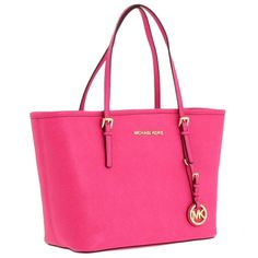 Michael Kors Jet Set Saffiano Small Travel Tote, Zinnia