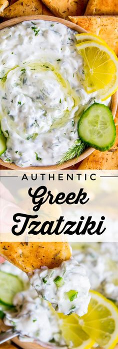 Tzatziki Sauce Recipe (with Toasted Za'atar Pita: Easy Appetizer!) from The Food… Tzatziki Sauce Recipe (with Toasted Za'atar Pita: Easy Appetizer!) from The Food Charlatan. Salsa Tzatziki, Tzatziki Sauce Recipe Greek Yogurt, Greek Taziki Sauce, Tzatziki Dressing Recipe, Lemon Dill Sauce, Healthy Recipes, Cooking Recipes, Vegetarian, Eating Clean