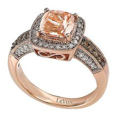 A lustrous Peach Morganite™ stone lies at the heart of this stunning Le Vian 14ct Strawberry Gold® ring. Framed with a radiant halo of Vanilla Diamonds® and finished with an irresistible combination of Chocolate Diamond® and Vanilla Diamond® set arms, this is a beautifully unique ring oozing luxury and distinction.