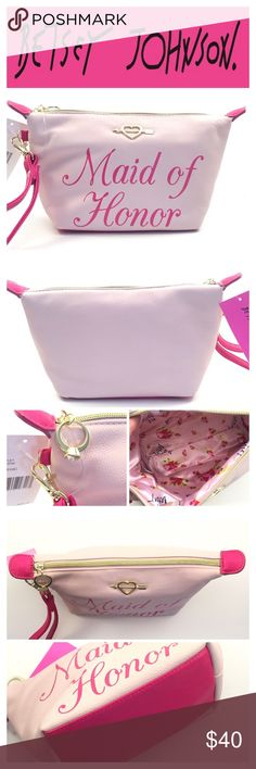 """MAID OF HONOR WRISTLET COSMETIC BAG Make you Maid of Honor feel as special as she is too you  -Zipper closure  -Faux diamond rind zipper pull -Bow/Heart BJ logo  -Detachable wristlet strap about 14"""" -Interior fully lined in Betsey Johnson signature fabric. -11.2"""" L  x 7.8"""" H x 3.5"""" W   2+ BUNDLE=SAVE  ‼️NO TRADES--NO HOLDS   Brand Authentic  ✈️ Ship Same Day--Purchase By 2PM PST   USE BLUE OFFER BUTTON TO NEGOTIATE   ✔️ Ask Questions Not Answered In Description--Want You Yo Be Happy! Betsey…"""