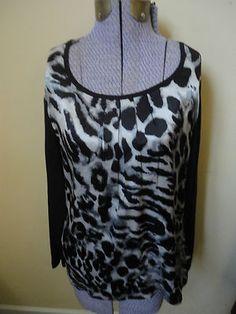 Chico's Silk Modal Cotton Black Gray Animal Print Top Shirt Long Sleeve S Chico's sz 1 or US 8, M $24.99  http://cgi.ebay.com/ws/eBayISAPI.dll?ViewItem=300798871726=STRK:MESE:IT