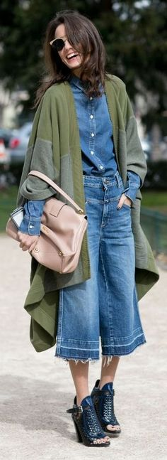 Green And Denim Outfit Idea by Make Life Easier
