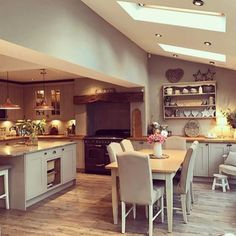 Pin By Lauren Westley On Decor Open Plan Kitchen Diner Home Decor Kitchen Family Rooms, Living Room Kitchen, Home Decor Kitchen, Kitchen Interior, New Kitchen, Kitchen Ideas, Kitchen Layout, Cosy Kitchen, Kitchen Modern