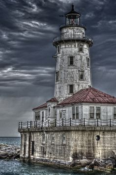 Lighthouse on Lake Michigan by rogermbyrne, via Flickr